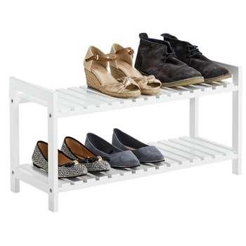 HOME 2 Tier Shoe Rack - White (36 x 70cm)