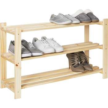 HOME 3 Shelf Shoe Storage Rack - Solid Unfinished Pine (50.7 x 83.8cm)