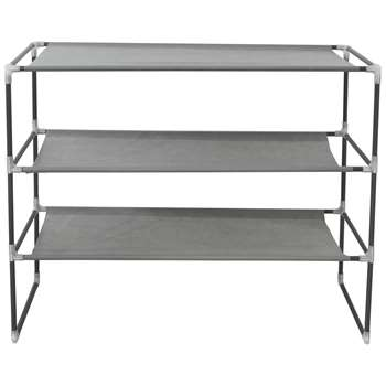 HOME 3 Shelf Stackable Fabric Shoe Storage Rack - Grey (56 x 68cm)