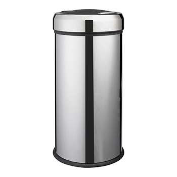 HOME 30 Litre Press Top Kitchen Bin - Silver (62.5 x 31cm)