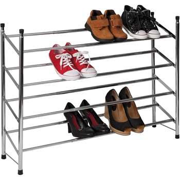 HOME 4 Shelf Extendable Shoe Storage Rack - Chrome Plated (66.5 x 63-118cm)