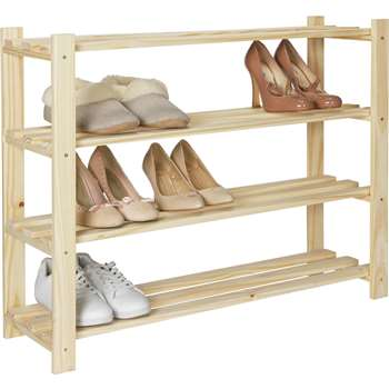 HOME 4 Shelf Shoe Storage Rack - Solid Unfinished Pine (69.9 x 83.3cm)