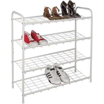 HOME 4 Shelf Shoe Storage Rack - White (73 x 75cm)
