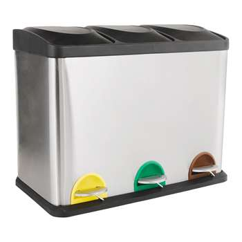 HOME 45 Litre Recycling Pedal Bin with 3 Compartments - H48.5