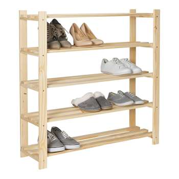 HOME 5 Shelf Shoe Storage Rack - Solid Unfinished Pine 89.2 x 83.8cm