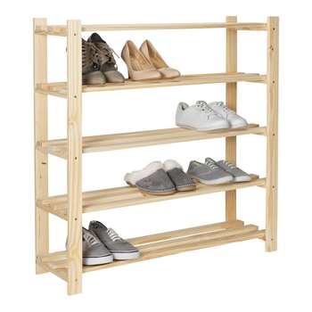 HOME 5 Shelf Shoe Storage Rack - Solid Unfinished Pine 89.2 x 83.8cm