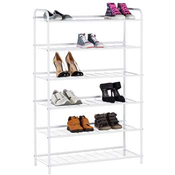 HOME 6 Tier White Shoe Rack (114 x 75cm)