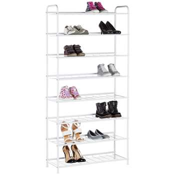 HOME 8 Tier White Shoe Rack (154 x 75cm)