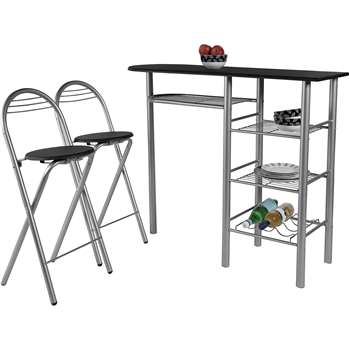 HOME Amelia Breakfast Table and 2 Chairs - Black