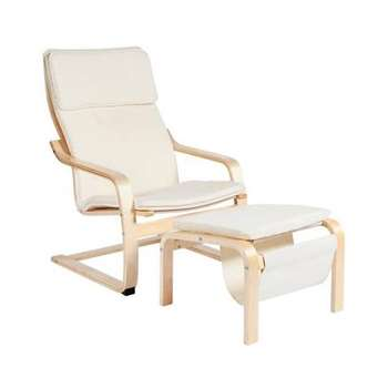 HOME Bentwood Fabric Chair and Footstool - Natural