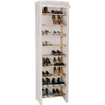 HOME Canvas and Pine 9 Shelf Shoe Storage Rack - Cream (165 x 48cm)