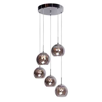 Home Collection Alice Clear Crystal Glass and Smoke Glass Cluster Light (104 x 44cm)