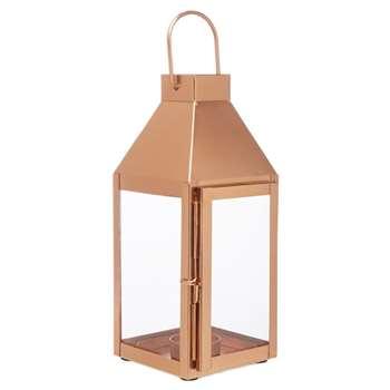 Home Collection - Bronze Copper Glass Lantern (26 x 11cm)