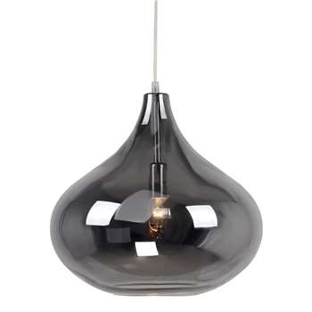 Home Collection Claire Silver Glass Pendant Light, Pale Grey (130 x 35cm)