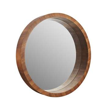 Home Collection - Round Wooden Frame Wall Mirror (82.5 x 82.5cm)