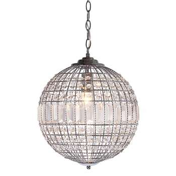 Home Collection Small Metal and Glass isabella Pendant Ceiling Light (140 x 34cm)