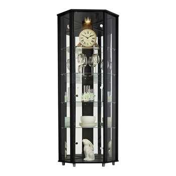 HOME Corner Glass Display Cabinet - Black 172 x 71cm