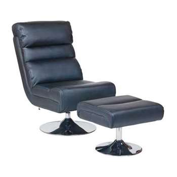 HOME Costa Leather Effect Swivel Chair and Footstool - Black