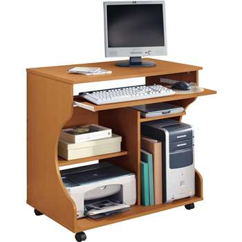 HOME Curved Computer Desk Trolley - Pine Effect (76 x 80cm)