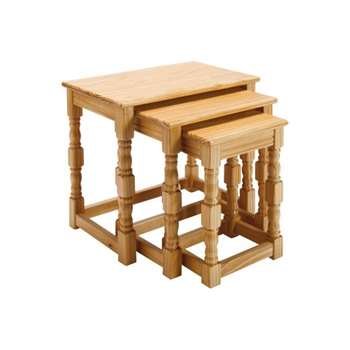 HOME Devon Nest of 3 Tables - Solid Pine with Oak Effect (Width 45.5cm)