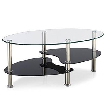 Home Discount Cara Glass Coffee Table, Clear & Black Oval Stainless Steel Legs Modern