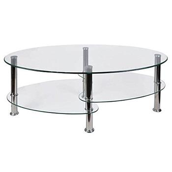 Home Discount Cara Glass Coffee Table, Clear Oval Stainless Steel Legs Modern