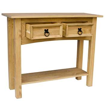 Home Discount Corona 2 Drawer Solid Pine Console Table (73 x 90cm)
