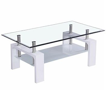 Home Discount Elise Rectangular Glass Coffee Table, White
