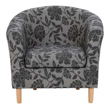 HOME Floral Fabric Tub Chair - Charcoal