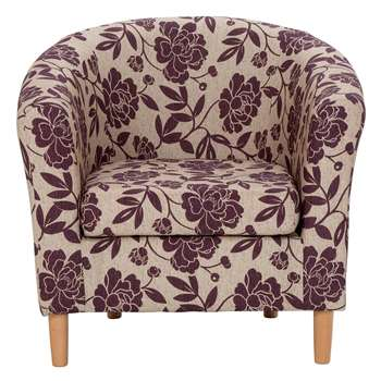 HOME Floral Fabric Tub Chair - Cranberry