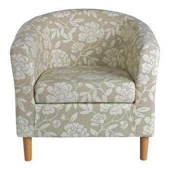 HOME Floral Fabric Tub Chair - Natural