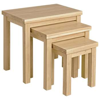 HOME - Gloucester Nest of 3 Solid Wood Tables - Natural (46.5 x 53cm)