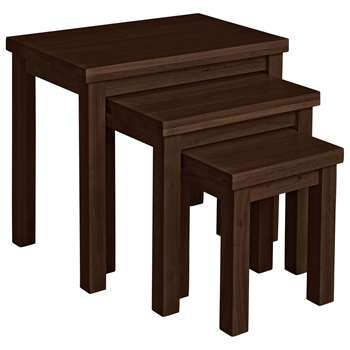 HOME - Gloucester Nest of 3 Solid Wood Tables - Walnut Effect (46.5 x 53cm)