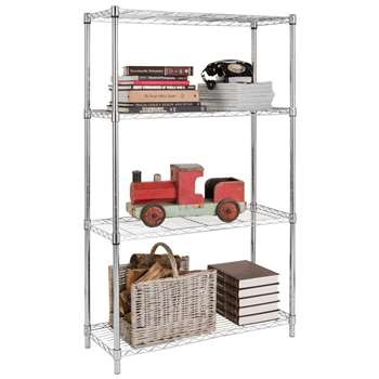 HOME Heavy Duty 4 Tier Metal Shelving Unit - Chrome Plated 152 x 90.5cm