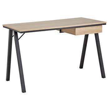 HOME Industrial Style Desk with Drawer - Oak Effect (75 x 120cm)