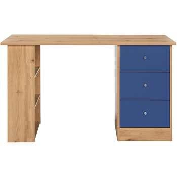 HOME Kids New Malibu 3 Drawer Desk - Blue on Pine (Width 120cm)