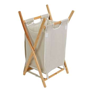 HOME 40 Litres Pine Laundry Basket - Natural (69 x 42cm)