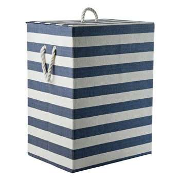 HOME 95 Litre Laundry Box - Blue and White (60 x 52cm)