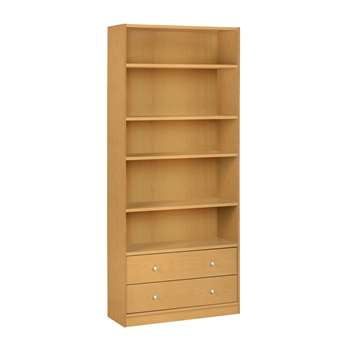 HOME Maine 2 Drawer Extra Deep Bookcase - Beech Effect 180 x 78cm