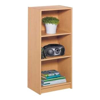 HOME Maine Half Width Small Extra Deep Bookcase-Beech Effect 91.5 x 42cm