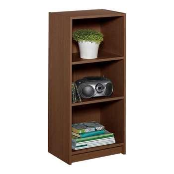 HOME Maine Half Width Small Extra Deep Bookcase - Walnut 91.5 x 42cm