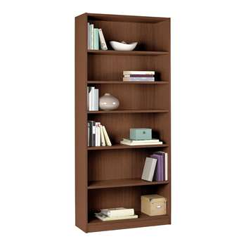 HOME Maine Tall and Wide Extra Deep Bookcase - Walnut Effect 180 x 78cm