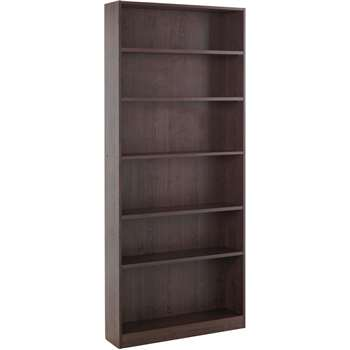 HOME Maine Tall Wide Bookcase - Walnut Effect (180 x 78cm)