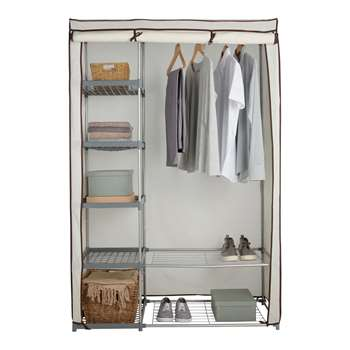 HOME Metal and Polycotton Double Wardrobe - Cream 175 x 116cm