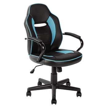 HOME Mid Back Office Gaming Chair - Blue & Black (107.5 x 47.5cm)