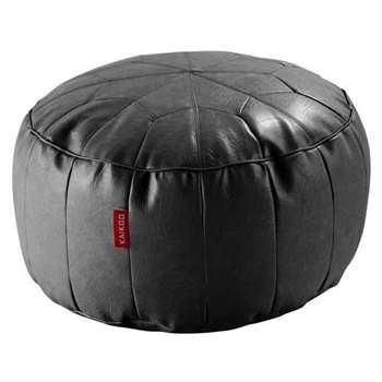 HOME Moroccan Leather Effect Footstool - Black