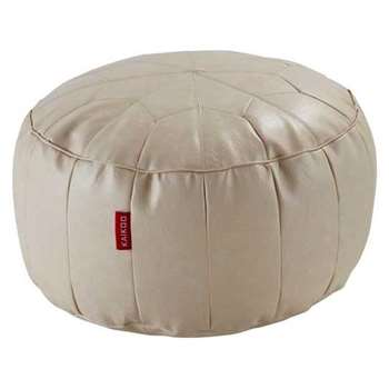 HOME Moroccan Leather Effect Footstool - Cream