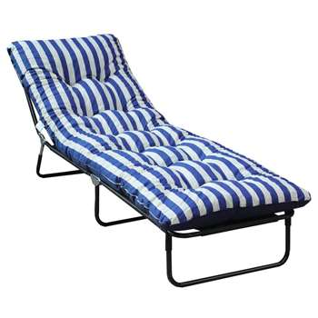 Argos Home Multi-Position Sun Lounger with Cushion - Blue (H76 x W62 x D198cm)