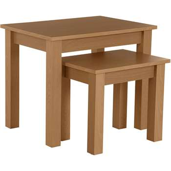 HOME Nest of 2 Tables - Oak Effect (Width 56cm)