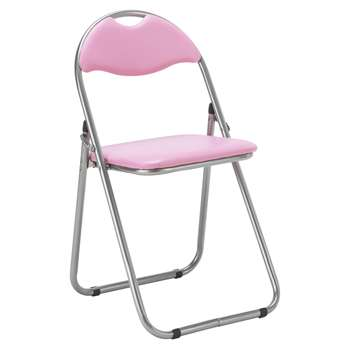 HOME Padded Folding Office Chair - Pink (79 x 38cm)